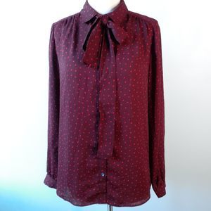 Lands' End Red Heart Button Down Blouse Size 12